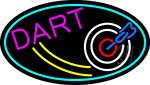 Dart Board Oval With Turquoise Border LED Neon Sign