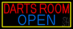 Darts Room Open With Yellow Border LED Neon Sign