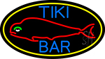 Dolphin Tiki Bar Oval With Yellow Border LED Neon Sign