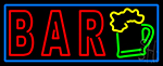 Double Stroke Bar With Beer Mug Blue Border LED Neon Sign
