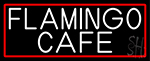 Flamingo Cafe With Red Border LED Neon Sign