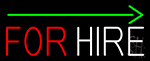 For Hire With Arrow Neon Sign