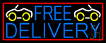 Free Delivery And Car With Red Border LED Neon Sign