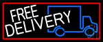 Free Delivery And Van With Red Border LED Neon Sign