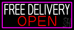 Free Delivery Open With Pink Border LED Neon Sign