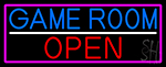 Game Room Open With Pink Border LED Neon Sign