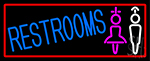 Girls And Boys Restrooms With Red Border Neon Sign