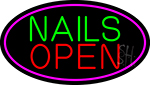 Green Nails Red Open Neon Sign