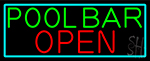 Green Pool Bar Open With Turquoise Border Neon Sign