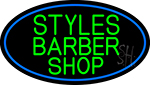 Green Styles Barber Shop With Blue Border Neon Sign