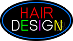 Hair Design With Blue Border Neon Sign