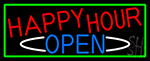 Happy Hour Open With Green Border Neon Sign
