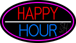 Happy Hour Oval With Pink Border Neon Sign