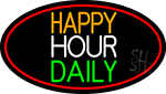 Happy Hours Daily Oval With Red Border Neon Sign