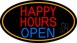 Happy Hours Open Oval With Orange Border Neon Sign