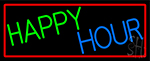 Happy Hours With Red Border Neon Sign