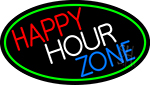 Happy Hour Zone Oval With Green Border Neon Sign