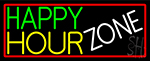 Happy Hour Zone With Red Border Neon Sign