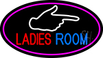 Ladies Room And Hand Pointing Oval With Pink Border Neon Sign