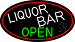 Liquor Bar Open Oval With Red Border Neon Sign