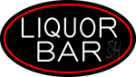 Liquor Bar Oval With Red Border Neon Sign