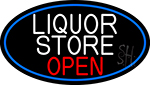 Liquor Store Open Oval With Blue Border Neon Sign