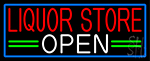 Liquor Store Open With Blue Border Neon Sign