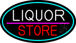 Liquor Store Oval With Turquoise Border Neon Sign