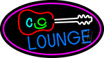 Lounge And Guitar Oval With Pink Border Neon Sign