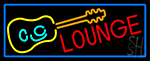 Lounge And Guitar With Blue Border Neon Sign