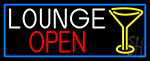Lounge And Martini Glass Open With Blue Border Neon Sign