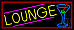 Lounge And Martini Glass With Red Border Neon Sign