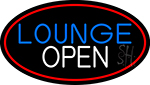 Lounge Open Oval With Red Border Neon Sign