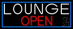 Lounge Open With Blue Border Neon Sign