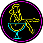 Martini Girl In Glass Oval With Pink Border Neon Sign