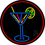 Martini Glass Oval With Red Border Neon Sign