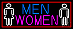 Men And Women Restroom With Red Border Neon Sign