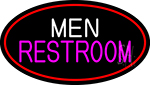 Men Restroom Oval With Red Border Neon Sign