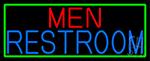 Men Restroom With Green Border Neon Sign