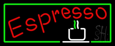 Red Espresso With Green Borders LED Neon Sign
