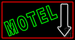Motel With Down Arrow LED Neon Sign
