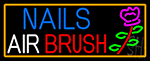 Nails Airbrush With Flower Neon Sign