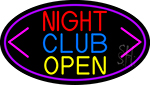 Night Club With Arrow Open Neon Sign