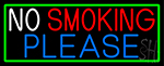 No Smoking Please With Green Border LED Neon Sign