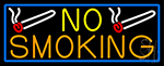 No Smoking With Blue Border LED Neon Sign