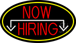 Now Hiring And Arrow Oval With Yellow Border Neon Sign