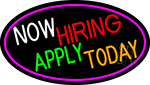 Now Hiring Apply Today Oval With Pink Border Neon Sign