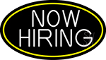 Now Hiring Bar Oval With Yellow Border Neon Sign