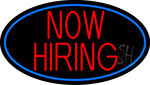 Now Hiring Red Oval With Blue Border Neon Sign