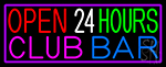 Open 24 Hours Club Bar LED Neon Sign